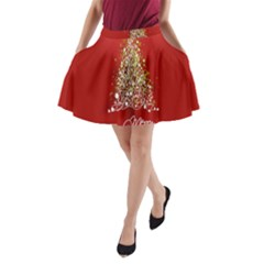 Tree Merry Christmas Red Star A Line Pocket Skirt by Alisyart
