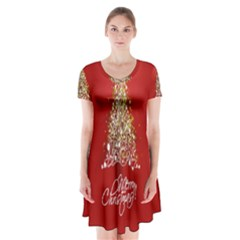Tree Merry Christmas Red Star Short Sleeve V Neck Flare Dress by Alisyart