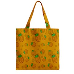 Fruit Pineapple Yellow Green Grocery Tote Bag by Alisyart