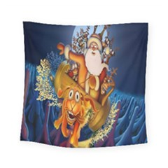 Deer Santa Claus Flying Trees Moon Night Christmas Square Tapestry (small)