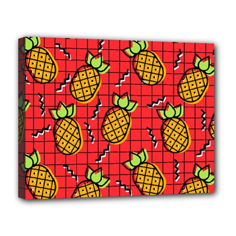 Fruit Pineapple Red Yellow Green Canvas 14  X 11  by Alisyart