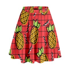 Fruit Pineapple Red Yellow Green High Waist Skirt by Alisyart