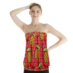Fruit Pineapple Red Yellow Green Strapless Top