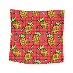 Fruit Pineapple Red Yellow Green Square Tapestry (small) by Alisyart