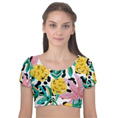 Fruit Pattern Pineapple Leaf Velvet Short Sleeve Crop Top
