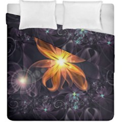 Beautiful Orange Star Lily Fractal Flower At Night Duvet Cover Double Side (king Size) by jayaprime