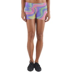Holographic Design Yoga Shorts by tarastyle
