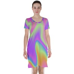Holographic Design Short Sleeve Nightdress
