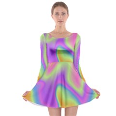 Holographic Design Long Sleeve Skater Dress