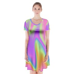 Holographic Design Short Sleeve V Neck Flare Dress