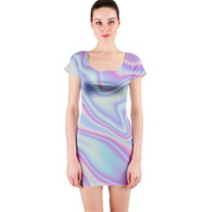 Holographic Design Short Sleeve Bodycon Dress