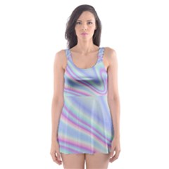 Holographic Design Skater Dress Swimsuit