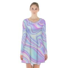 Holographic Design Long Sleeve Velvet V Neck Dress