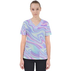 Holographic Design Scrub Top