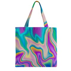 Holographic Design Zipper Grocery Tote Bag