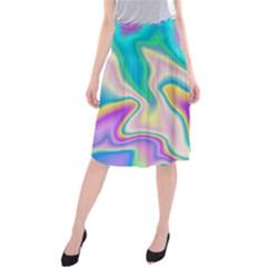 Holographic Design Midi Beach Skirt