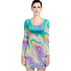 Holographic Design Long Sleeve Velvet Bodycon Dress