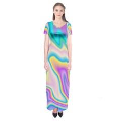 Holographic Design Short Sleeve Maxi Dress