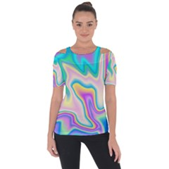 Holographic Design Short Sleeve Top
