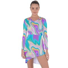 Holographic Design Asymmetric Cut Out Shift Dress