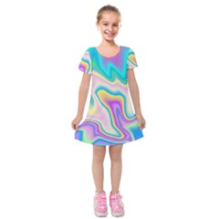 Holographic Design Kids  Short Sleeve Velvet Dress