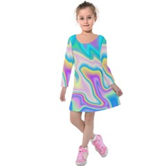 Holographic Design Kids  Long Sleeve Velvet Dress