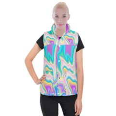 Holographic Design Women s Button Up Puffer Vest