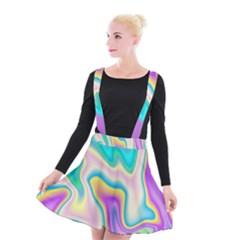 Holographic Design Suspender Skater Skirt