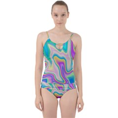 Holographic Design Cut Out Top Tankini Set