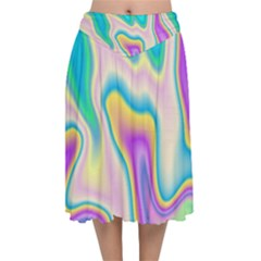 Holographic Design Velvet Flared Midi Skirt
