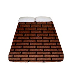 Brick1 Black Marble & Brown Denim Fitted Sheet (full/ Double Size) by trendistuff