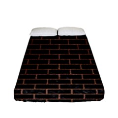 Brick1 Black Marble & Brown Denim (r) Fitted Sheet (full/ Double Size) by trendistuff