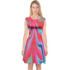 Holographic Design Capsleeve Midi Dress
