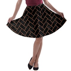 Brick2 Black Marble & Brown Denim (r) A Line Skater Skirt by trendistuff