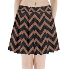 Chevron9 Black Marble & Brown Denim (r) Pleated Mini Skirt by trendistuff