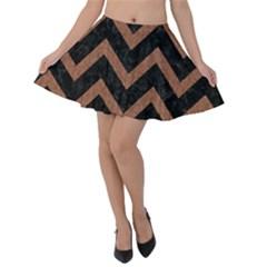 Chevron9 Black Marble & Brown Denim (r) Velvet Skater Skirt