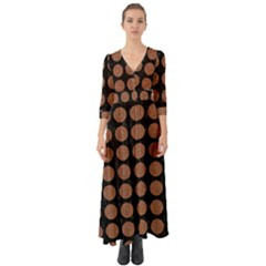 Circles1 Black Marble & Brown Denim (r) Button Up Boho Maxi Dress