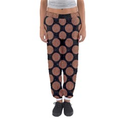 Circles2 Black Marble & Brown Denim (r) Women s Jogger Sweatpants by trendistuff