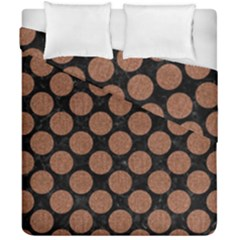 Circles2 Black Marble & Brown Denim (r) Duvet Cover Double Side (california King Size) by trendistuff
