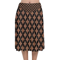 Circles3 Black Marble & Brown Denim Velvet Flared Midi Skirt