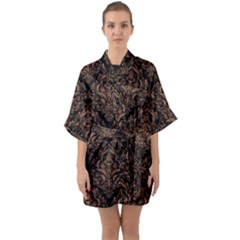 Damask1 Black Marble & Brown Denim (r) Quarter Sleeve Kimono Robe