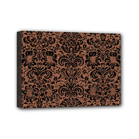 Damask2 Black Marble & Brown Denim Mini Canvas 7  X 5  by trendistuff