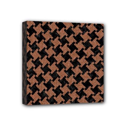 Houndstooth2 Black Marble & Brown Denim Mini Canvas 4  X 4  by trendistuff