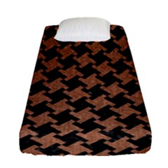 Houndstooth2 Black Marble & Brown Denim Fitted Sheet (single Size) by trendistuff