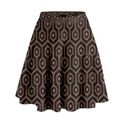 Hexagon1 Black Marble & Brown Denim (r) High Waist Skirt by trendistuff