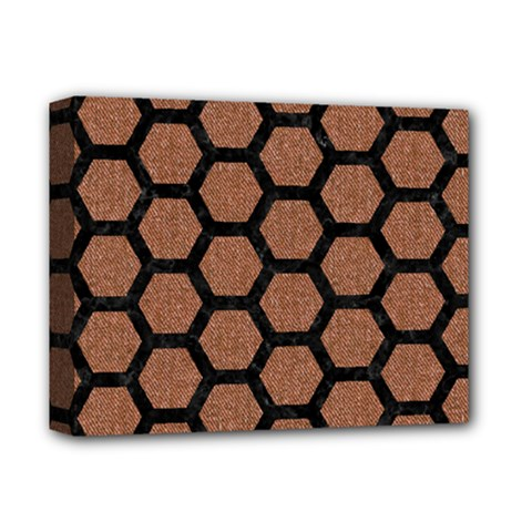 Hexagon2 Black Marble & Brown Denim Deluxe Canvas 14  X 11  by trendistuff