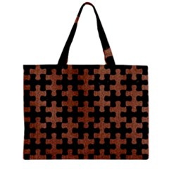 Puzzle1 Black Marble & Brown Denim Zipper Mini Tote Bag by trendistuff