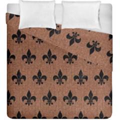 Royal1 Black Marble & Brown Denim (r) Duvet Cover Double Side (king Size) by trendistuff