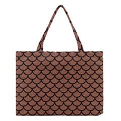 Scales1 Black Marble & Brown Denim Medium Tote Bag by trendistuff