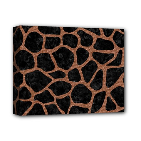 Skin1 Black Marble & Brown Denim Deluxe Canvas 14  X 11  by trendistuff